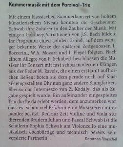 Parzivaltrio - Kritik Augsburg